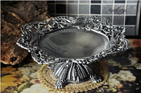28cm Round Embossed Metal Serving Tray Storage Tray Metal Fruit Bowl For Fruit Decorative Tray For