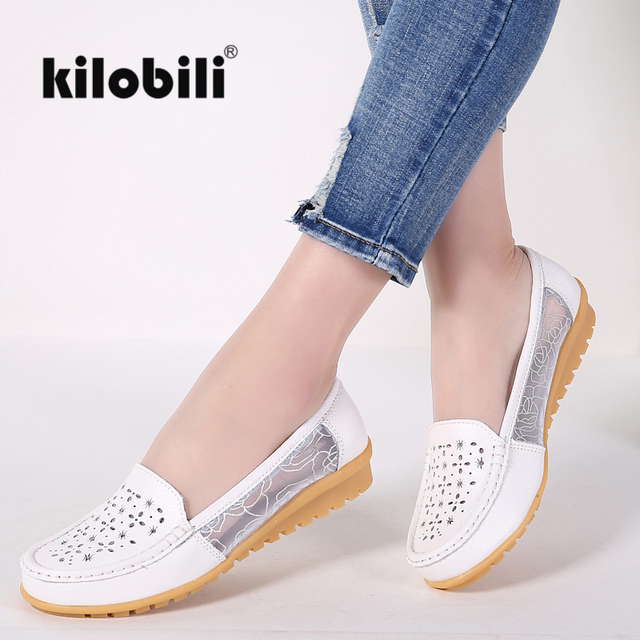 Kilobili cuero Ballet casual Zapatos slip on Flats Encaje acoplamiento  barco mocasines Ballerina Flats Zapatos mujeres b8d76a669b7
