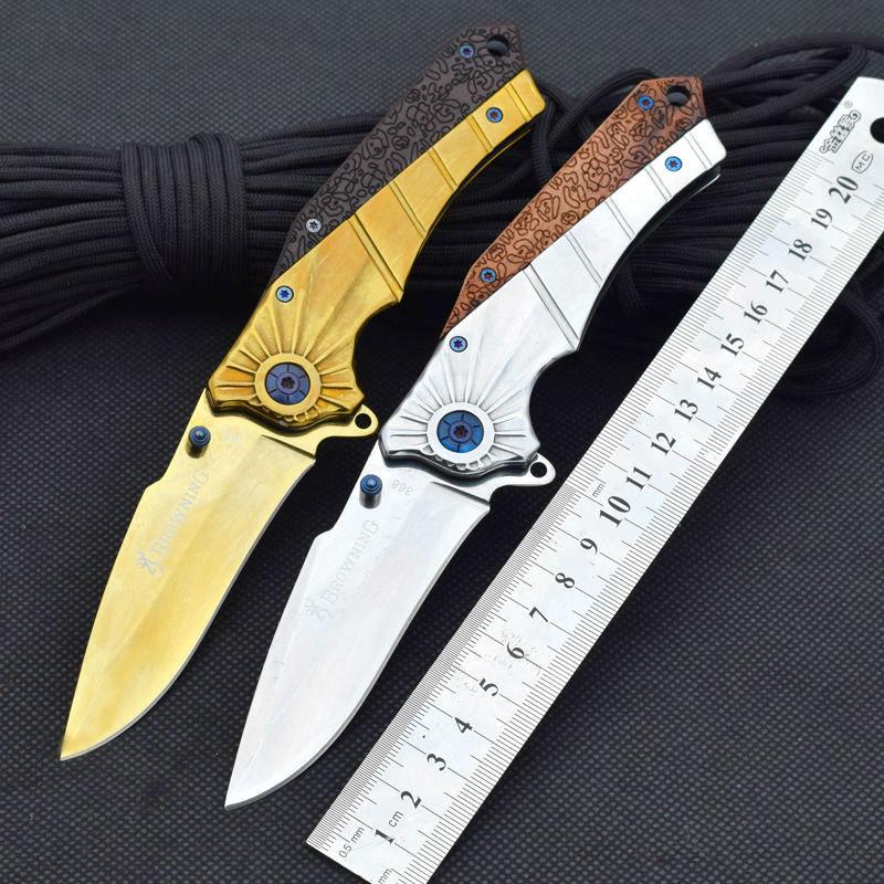 7CR17MOV Steel Blade Folding font b Knife b font Browning Pocket font b Knife b font