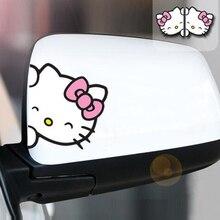 2 шт hello kitty пара зеркал заднего вида модные милые светоотражающие автомобильные наклейки