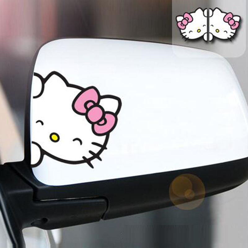 2PCS Hello Kitty A Pair Of Rearview Mirror Fashion Cute Reflective Car Sticker