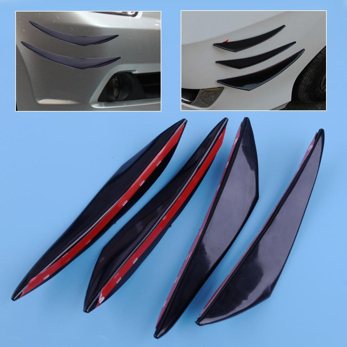 beler 4pcs PU Rubber Universal Large Car Front Bumper Protector Body Spoiler Fins Lip Canards Splitter