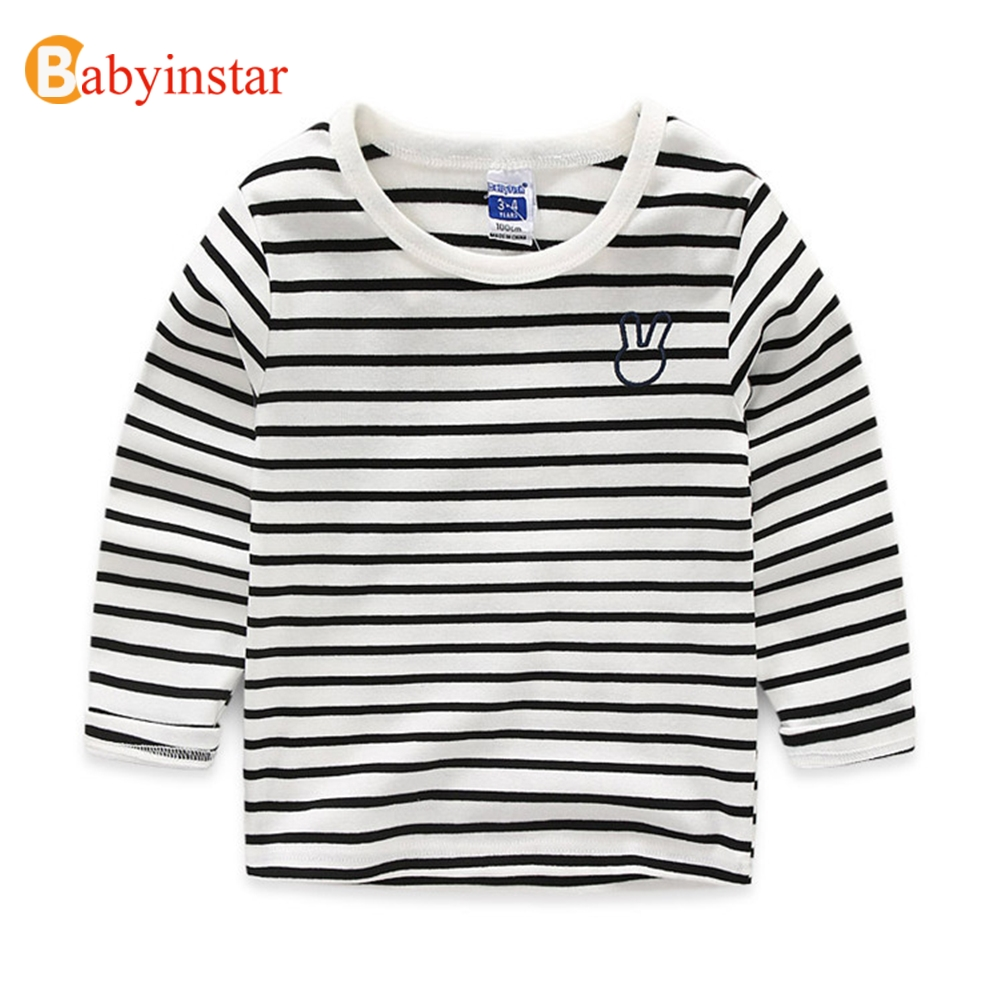Babyinstar Baby Kids Clothing Stripe Cotton Boys Girls T Shirt Cute Rarabbit Pattern Long Sleeves Children Autumn Clothes