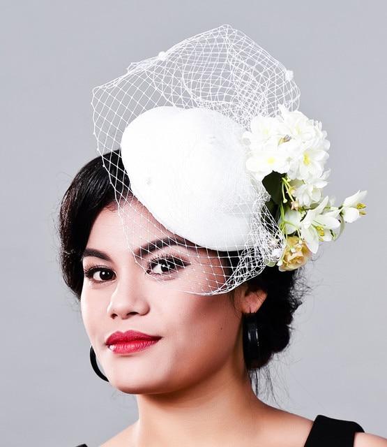 Fancy silk flower Fascinator hat base Wedding Hats and Fascinators White  Net Hair Accessories for Bridal Woman party Headwear d94c128fff1