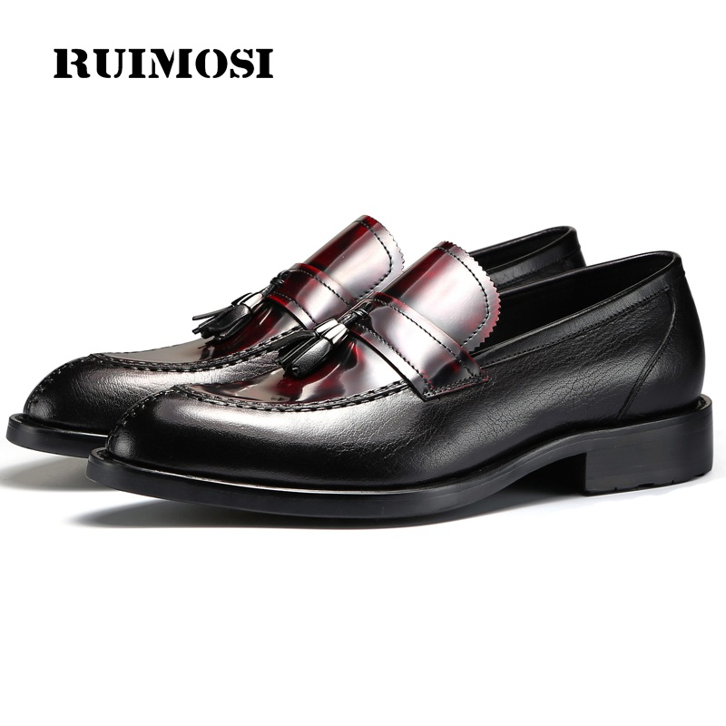 RUIMOSI Classic Round Toe Man Casual Shoes Genuine Leather Male Tassels Loafers Designer Brand Comfortable Men's Flats TH54