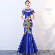 Fashion women's evening dress Vintage pattern Traditional Chinese Clothing Women Long Cheongsam Qipao Elegant Banquet Dresses