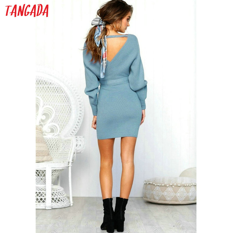 Tangada women dress 19 knitted mini dress autumn winter ladies sexy green sweater dress long sleeve vintage korean ADY08 25