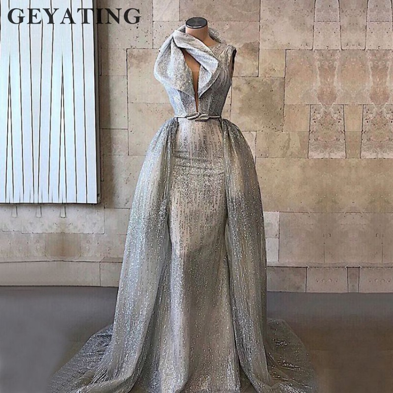 Sparkly Silver Long Elegant Women   Evening     Dresses   2K19 Mermaid Glitter Saudi Arabic High Neck Detachable Formal   Evening   Gowns