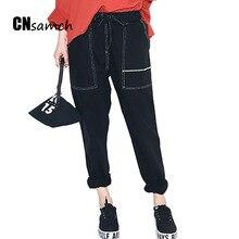 2017 hip hop предвестником парней корейский свободные черные шаровары студентов эластичные джинсы женские брюки девять очков джинсы женские