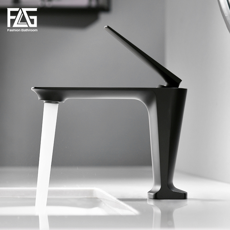 FLG Basin Faucets Hot and Cold Morden Black Faucet Taps Bathroom Sink Faucet Single Handle Hole
