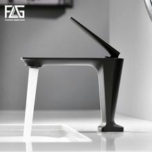 FLG Basin Faucets Hot and Cold Morden Black Faucet Taps Bathroom Sink Faucet Single Handle Hole Deck Mounted Wash Mixer Tap 1091 black basin faucets modern style bathroom faucet deck mounted waterfall single hole mixer taps both cold and hot water crane9273