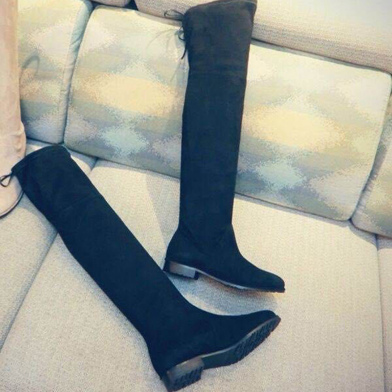 Hot Sale Stretch Fabric Woman Boots High Quality Leather Over The Knee Boots Woman 2016 New Arrival Fashion Designer Shoes Woman hot sale brand new high quality safer body fitness building pro circle chin up system gravity inversion boots