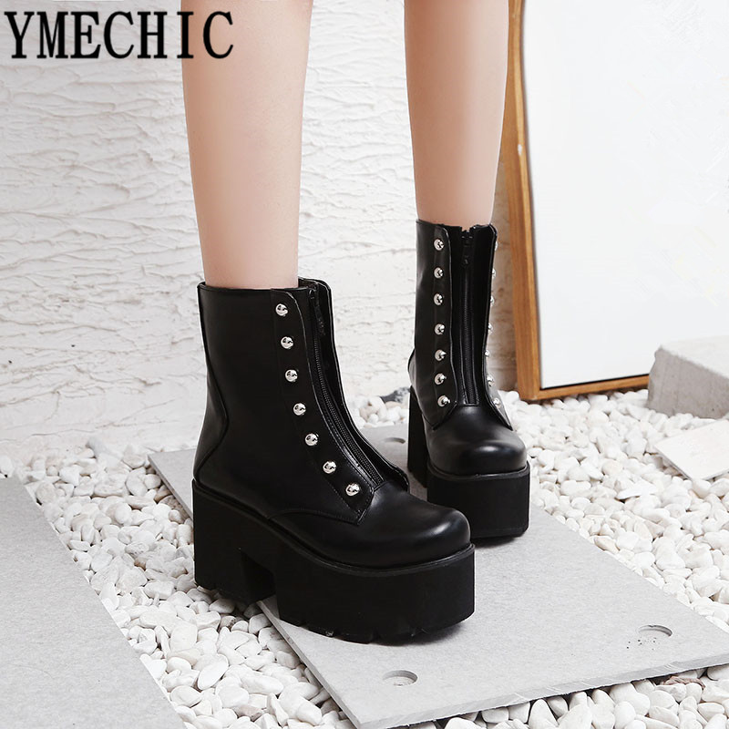YMECHIC Black Brown Gothic Punk Womens Boots Ankle Platform Rivet Chunky High Heel Combat Boots for