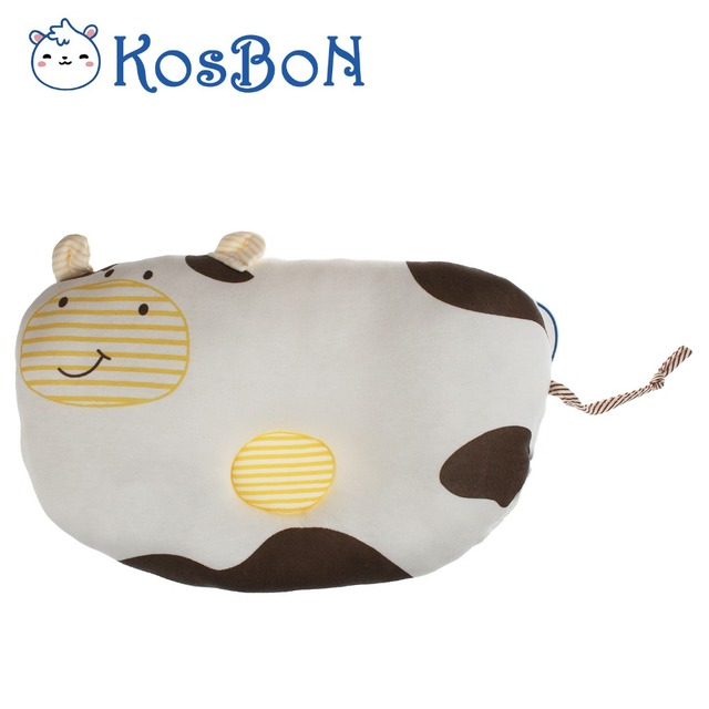 Soft Cotton Memory Foam Anti Roll Head Positioner Baby Shaping Pillow Cute Cow Pattern Baby Positioner Prevent Flat Head Pillow