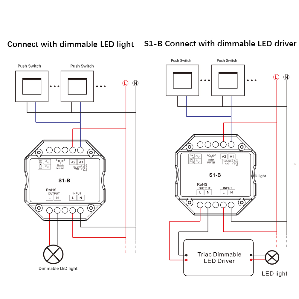 Triac Led Dimmer 220v 230v 110v Ac Wireless Rf Dimmable Push Switch 4-Way  Dimmer Switch Wiring Diagram Dimmer 220v Schematic