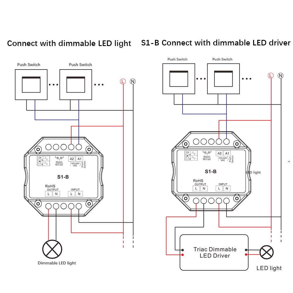 medium resolution of  triac led dimmer 220v 230v 110v ac wireless rf dimmable push switch with 2 4g remote