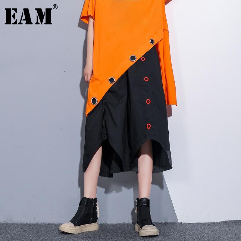 [EAM] 2019 New Spring Summer High Elastic Waist Black Button Split Joint Irregular   Wide     Leg     Pants   Women Trousers Fashion JW105