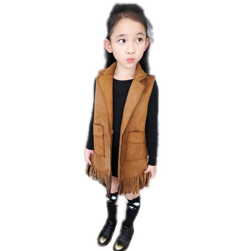 2016 new brand baby girl vest Europen American girls vest for children winter autumn tassel kid