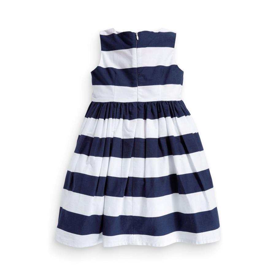 2014 New Baby Girl Dress Navy Blue And White Striped Flower Girls