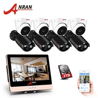 ANRAN POE 8CH 2.0MP 12 Inch LCD POE NVR Kit Home Security Surveillance System IR NightVision Waterproof IP Security POE Camera