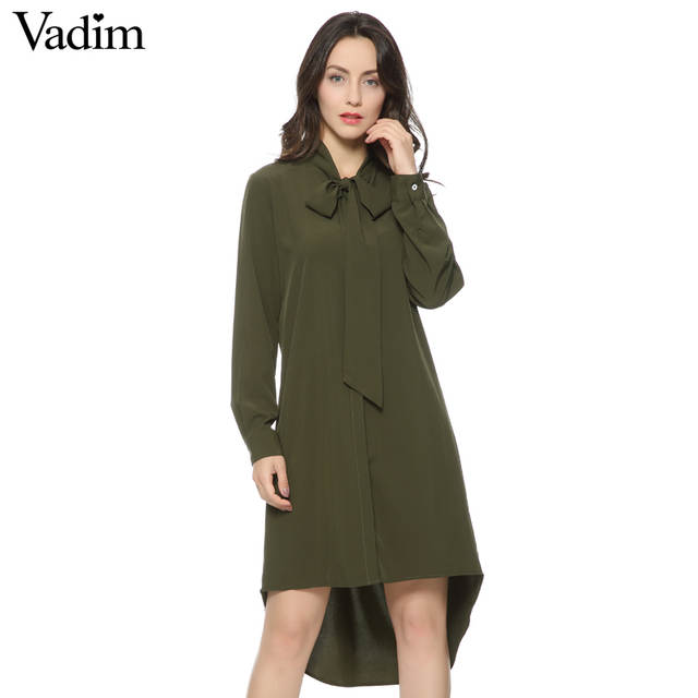 485e7d720389c0 Online Shop Women army green neck bow tie long shirts stand collar long  sleeve loose blouses Blusas Femininas casual bow tie tops LT739