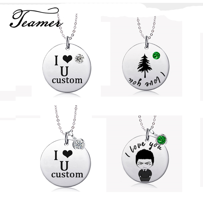 Customized Fashion Stainless Steel Name Necklace Personalized Photo Crystal Necklace Jewelry Gifts for Family Friend Lover in Pendant Necklaces from Jewelry Accessories