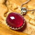 Oval vermelho Mulher de Pedra Ruby Red Simulado Luxo Colar Pingente de prata 925 Presente Perfeito Colar de Pingente Atacado para Noivas