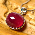 Red Oval Stone Woman Red Simulated Ruby  Luxury Pendant Necklace 925 silver Perfect  Pendant Necklace Wholesale for Brides Gift