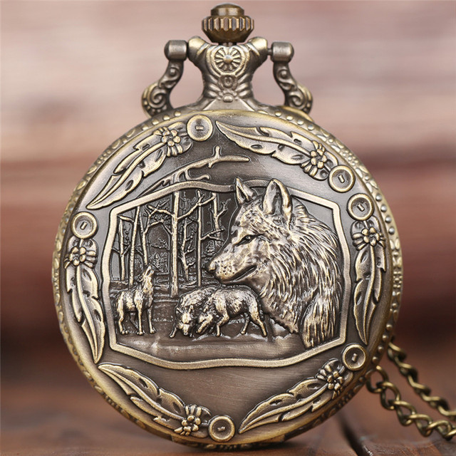 Awesome 3D Wolves Scuplture Pocket Watch Slim Necklace Exquisite Animal Theme Cl