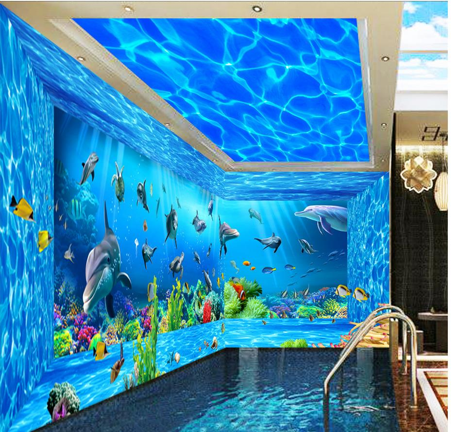 Murals wallpapers room sofa home decoration ocean world 3d for Mural 3d wallpaper