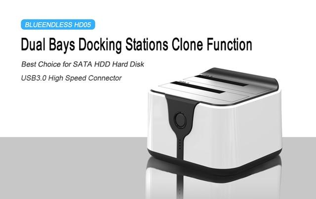 "2-Bay 4TB Dual SATA 2.5""/3.5""  Hdd ssd Docking Station USB 3.0 to SATA HDD Duplicator High Speed 5Gbps Duplicator Support HD05"