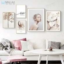 Modern Abstract Gold Flower Leaves Beautiful Girl Posters Prints Nordic Living Room Wall Art Pictures Home Decor Canvas Painting