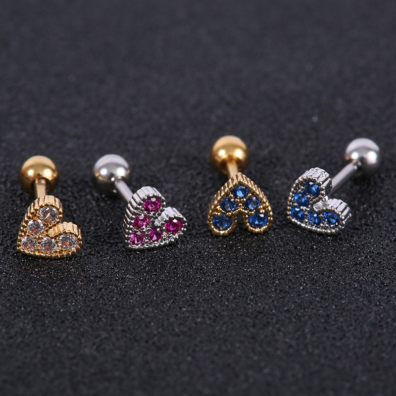 1 Piece Heart Shaped Mini Earrings For Women Medical Stainless/titanium Steel Prevent Allergy Stud Earrings Party Mini Jewelry