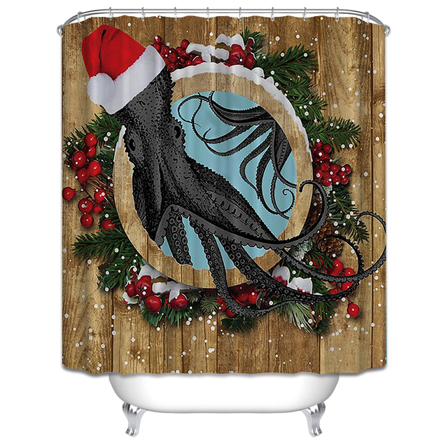 Christmas Shower Curtain 3d Butterfly Waterproof Creative Bathroom Product Fabric Washable Red High Heels Bath Hook