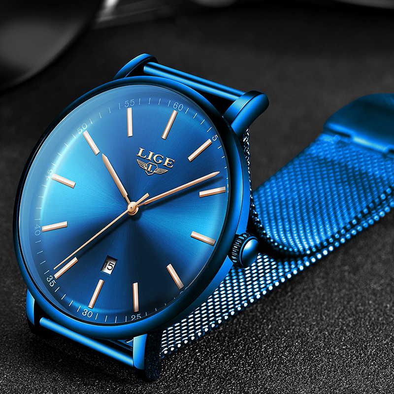 LIGE relojes de mujer de primera marca de lujo a prueba de agua reloj de pulsera de cuarzo ultrafino de acero inoxidable para mujer
