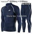 New Premium Take Five Men's Compression Skin Tight Long Sleeve Top & Pants Sets-003+018 Navy
