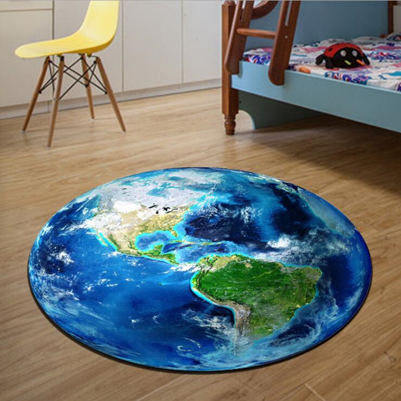 Round Carpet 3D Print Earth Planet Soft Carpets Anti-slip Rugs Computer Chair Mat Floor Mat for Kids Room Home Decor