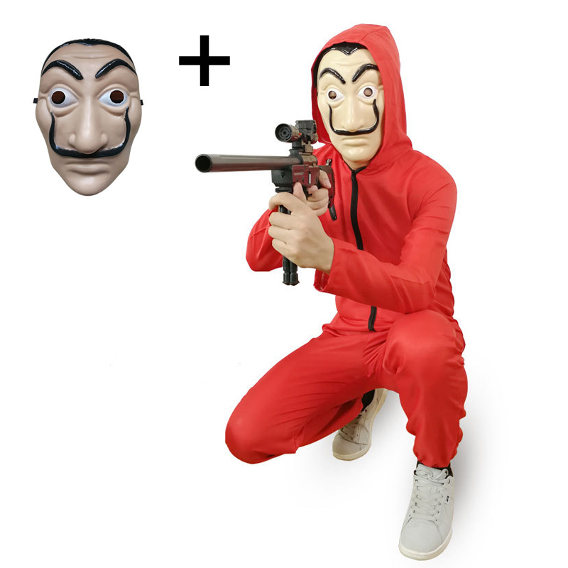 Movie Money Heist House Paper Costume La casa de papel Salvador Dali Cosplay Halloween Party Costumes with Face Mask