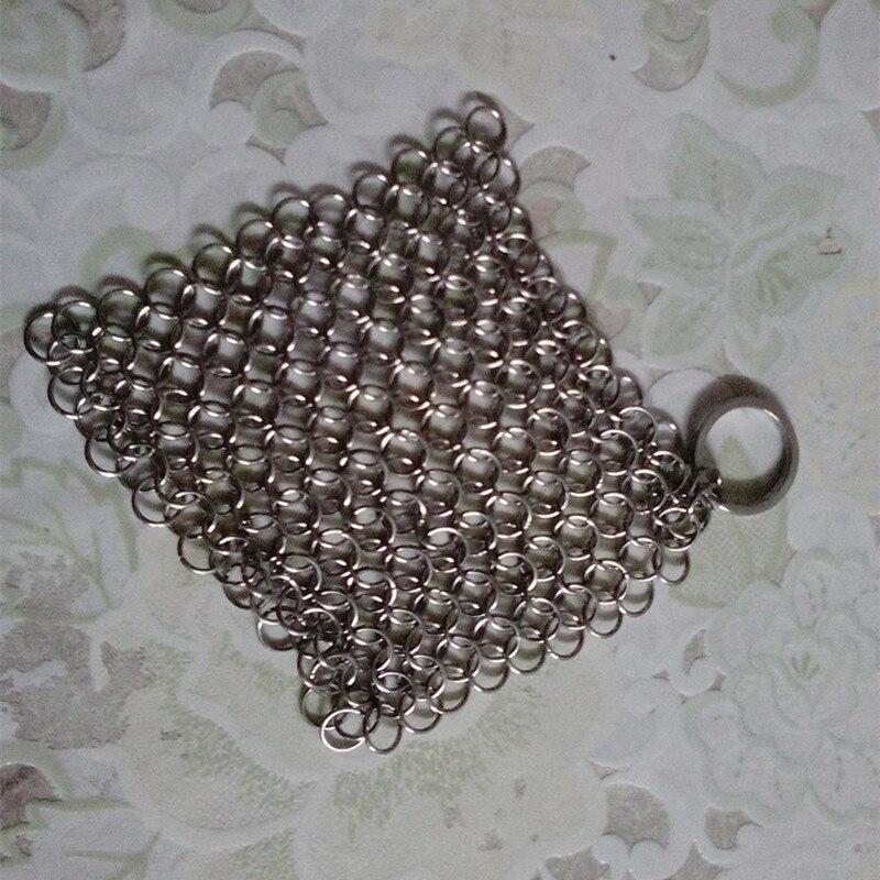 Finger Желязо чистичката от неръждаема стомана Chainmail палмова четка Скрубер