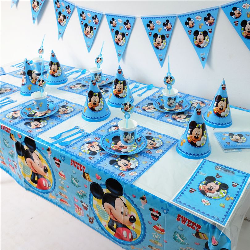 Us 113 25 Offdisney Mickey Mouse Kids Birthday Party Decoration Set Party Supplies Cup Plate Banner Hat Straw Loot Bag Fork In Disposable Party