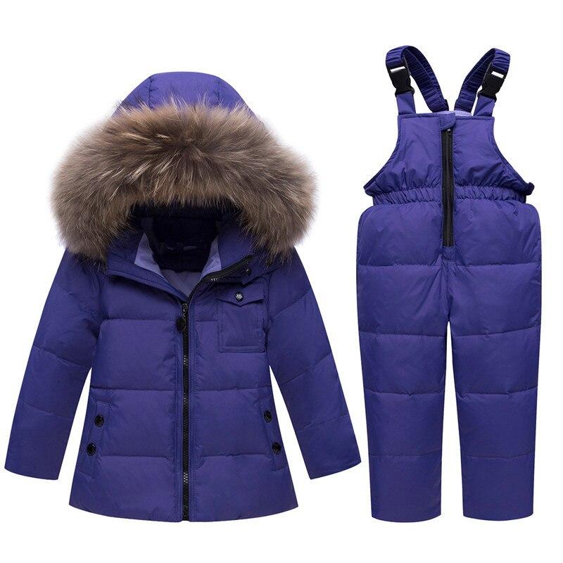 купить Winter Russia Kids Down Suits Baby Girls Boys Clothing Sets Infant Toddler Down Jacket Warm Children Outerwear+Jumpsuit Snowsuit недорого