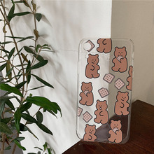 Cute Cookie bear clear case on for coque iphone 7 8 Biscuits silicone soft back cover xr xs max x 6 6s plus
