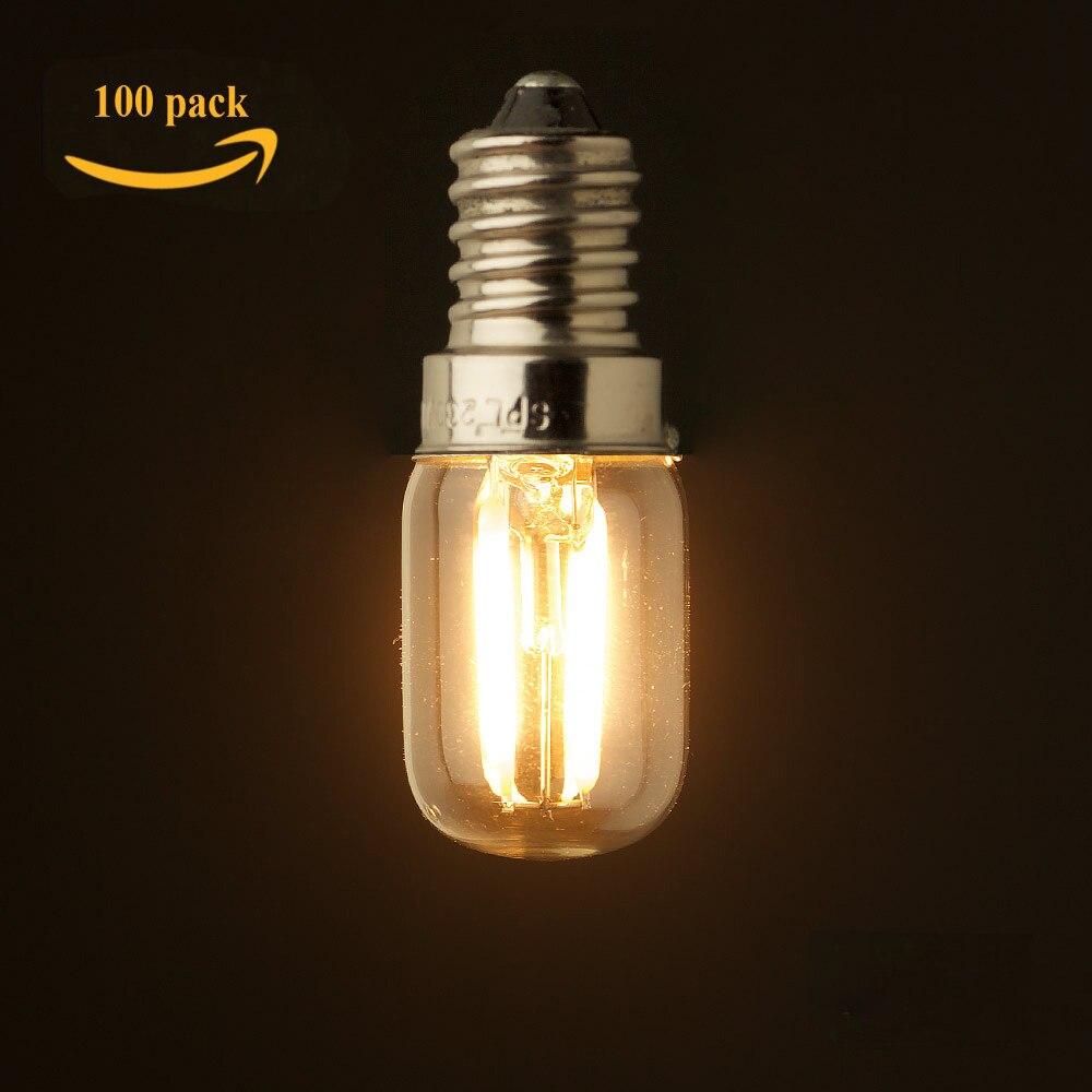 100pcs/lot Refrigerator LED Filament Light Bulb,1W 2W,2200K,E12 E14 Base,Edison T20 Clear Style,110V 220VAC,Dimmable