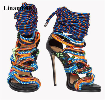 Summer Sandals Thin Heels Pointed toe Colorful Sandals Super High Heels Women Sandals  unique sexy cover heel  and Durable