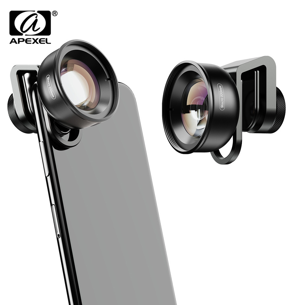 APEXEL HD Lente Óptica 100 milímetros Macro 10x Super Lentes Macro Lente Da Câmera Do Telefone para iPhonex xs max Samsung Xiaomi huawei Celular