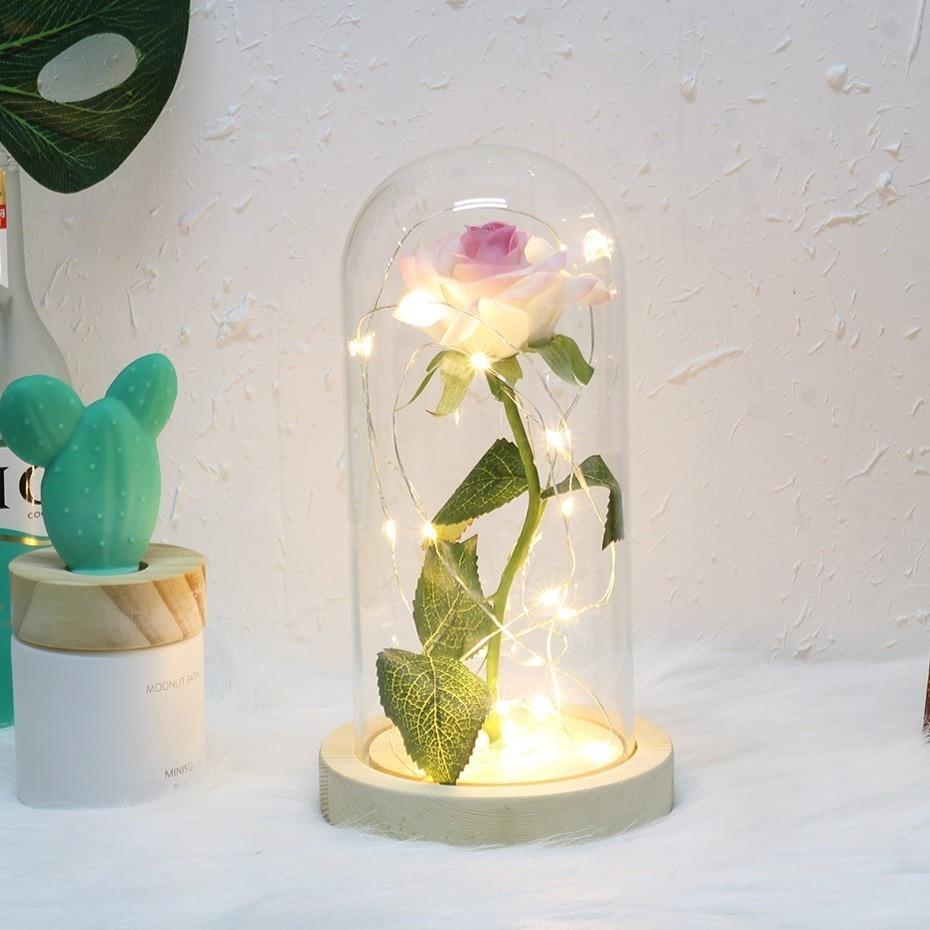 6 цветов Красота и чудовище красная роза в стеклянном куполе на деревянной основе для подарков Святого Валентина светодиодный лампы с розами Рождество - Цвет: white with pink