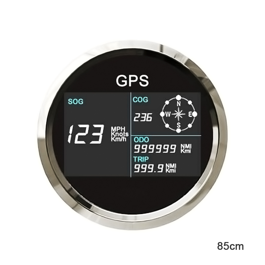 Universal 85mm Car GPS Speedometer Digital LCD Speed Gauge Knots Compass with GPS Antenna for Boats Motorcycle 100% brand new gps speedometer 60knots for auto boat with gps antenna white color