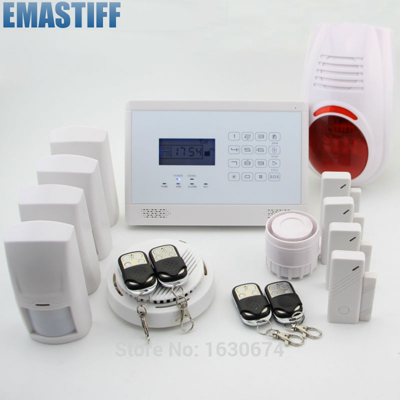 LCD Security Wireless GSM Autodial House Office Burglar Intruder Alarm System+ Outdoor Flash Siren+ Smoke Sensor new safurance wireless lcd gsm sms autodial alarm security home house burglar intruder system home safety alarm mainframe kits