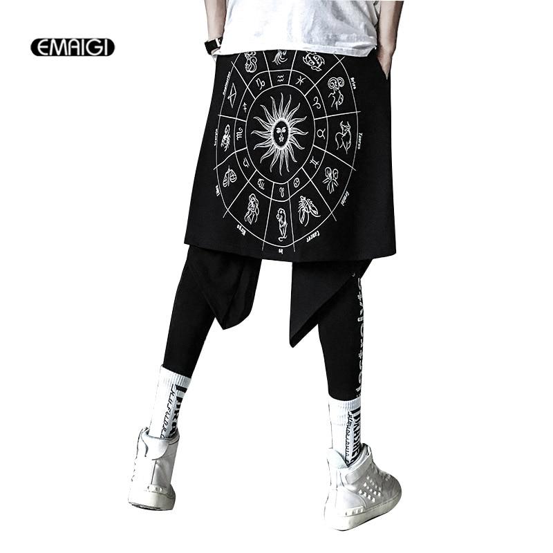 Degli uomini di Stampa di Modo Asimmetrico del Pannello Esterno della Mutanda High Street Hip Hop Maschio Casual Harem Pant Mens Pantaloni-in Pantaloni harem da Abbigliamento da uomo su  Gruppo 1