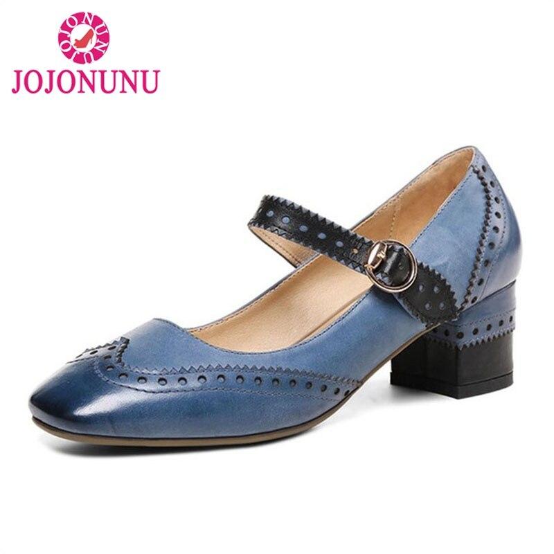 JOJONUN Women Genuine Leather High Heel Shoes Vintage Women Pumps Ankle Strap Thick Heel Shoes Woman Club Footwear Size 34-39 цена